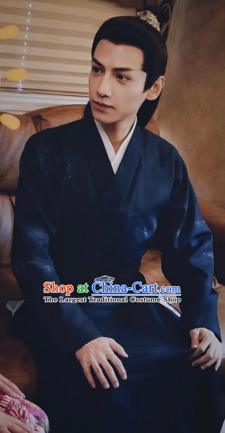 Chinese Ancient Childe Blue Garment Clothing and Headpiece Drama And The Winner Is Love Swordsman Gentleman Shangguan Tou Apparels