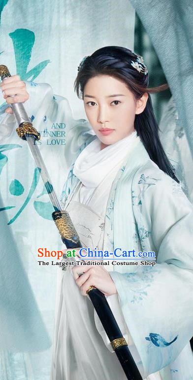 Chinese Ancient Female Swordsman Apparels Costumes and Headwear Drama And The Winner Is Love Lin Fengzi Garment Dress