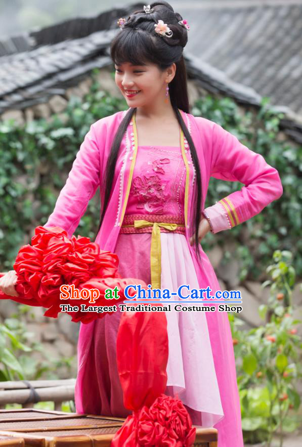 Chinese Ancient Village Girl Rosy Dress Apparels Costumes and Headpieces Drama Earth Smoke Sparkle Kitchen Hua Erqiao Garment