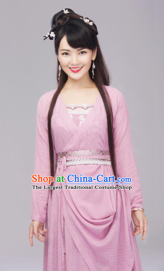 Chinese Ancient Female Cook Dress Apparels Costumes and Headpieces Drama Earth Smoke Sparkle Kitchen Village Girl Hua Erqiao Garment