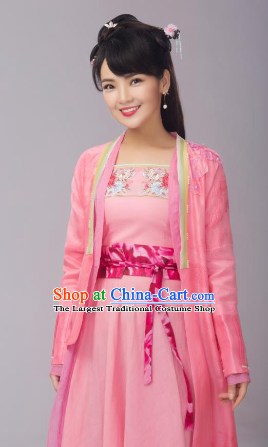 Chinese Ancient Female Cook Pink Dress Costumes and Headpieces Drama Earth Smoke Sparkle Kitchen Village Girl Hua Erqiao Apparels Garment