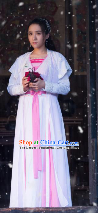Chinese Ancient Young Lady Hanfu Dress Costumes and Headpieces Drama Earth Smoke Sparkle Kitchen Village Girl Guan Rong Apparels Garment