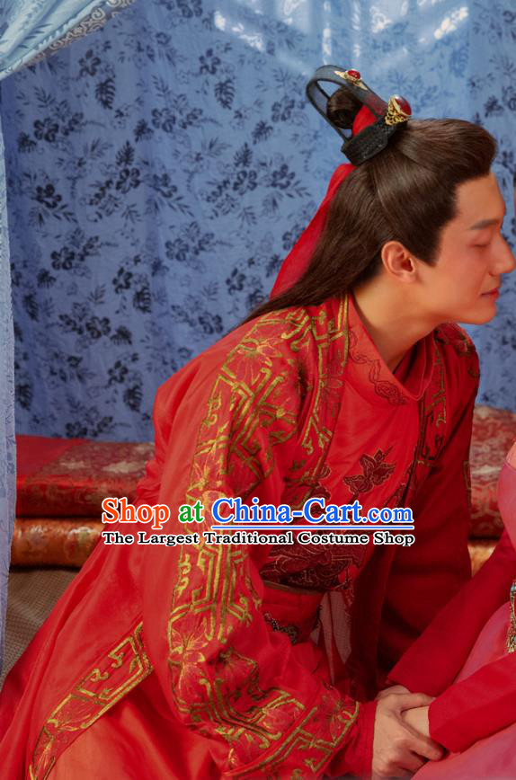 Chinese Ancient Swordsman Wedding Garment Clothing and Headpiece Drama Earth Smoke Sparkle Kitchen Meng Yuhuai Red Apparels