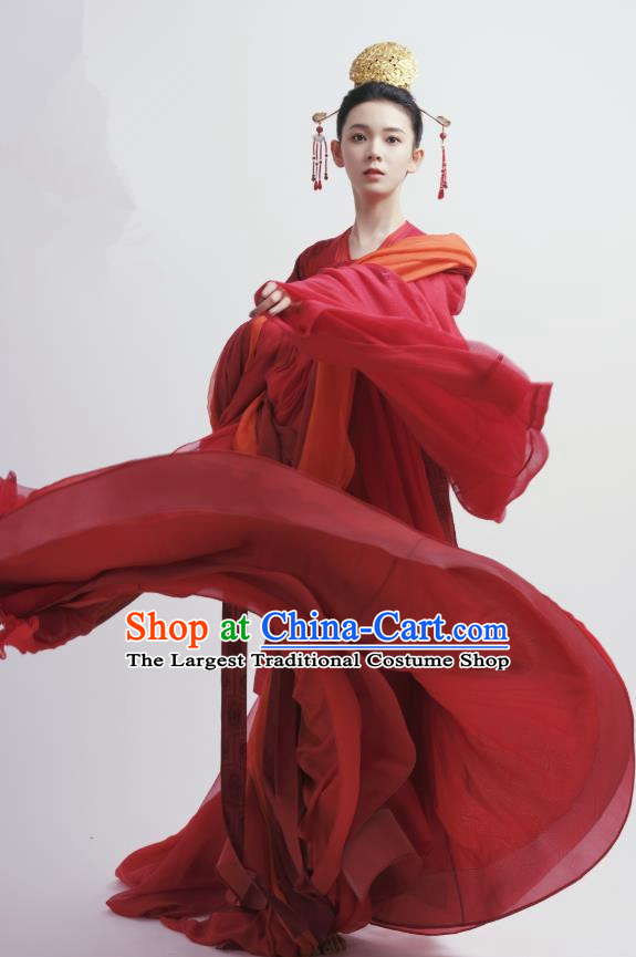 Chinese Ancient Tang Dynasty Red Hanfu Dress Apparels Costumes and Headdress Drama Wu Xin The Monster Killer Noble Lady Liu Qingluan Garment
