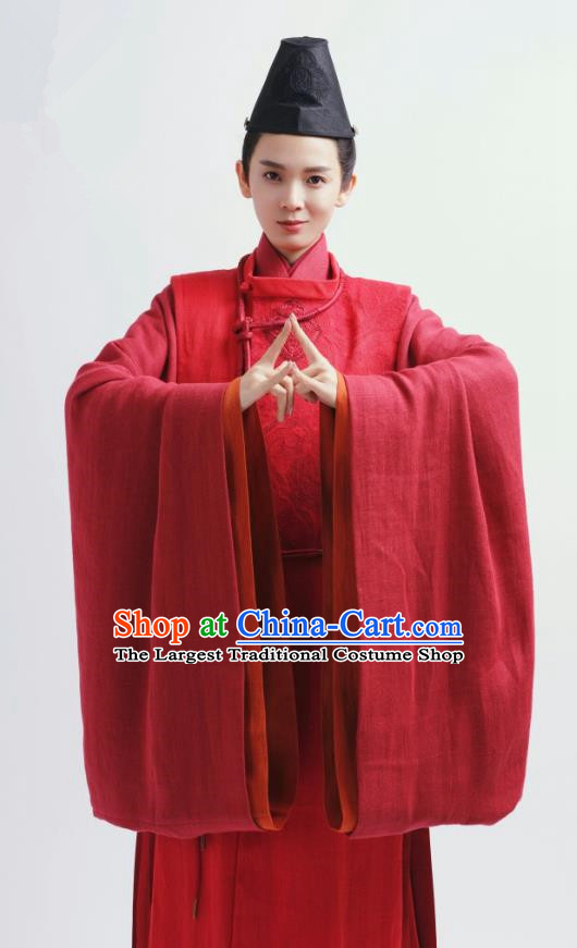 Chinese Ancient Swordsman Red Garment Clothing and Headwear Drama Wu Xin The Monster Killer Liu Qinghu Apparels