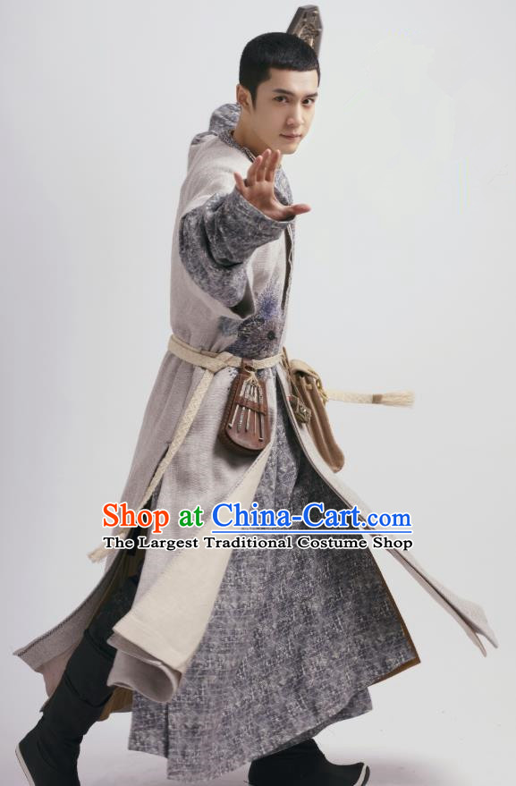Chinese Ancient Swordsman Garment and Hat Drama Wu Xin The Monster Killer Tang Dynasty Taoist Apparels Clothing