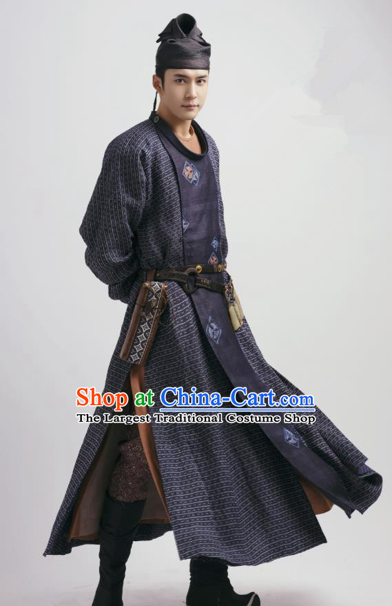 Chinese Ancient Swordsman Purple Garment and Hat Drama Wu Xin The Monster Killer Tang Dynasty Apparels Clothing