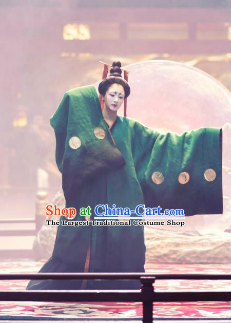 Chinese Ancient Tang Dynasty Geisha Hanfu Dress Apparels Costumes and Headdress Drama Wu Xin The Monster Killer Dance Garment