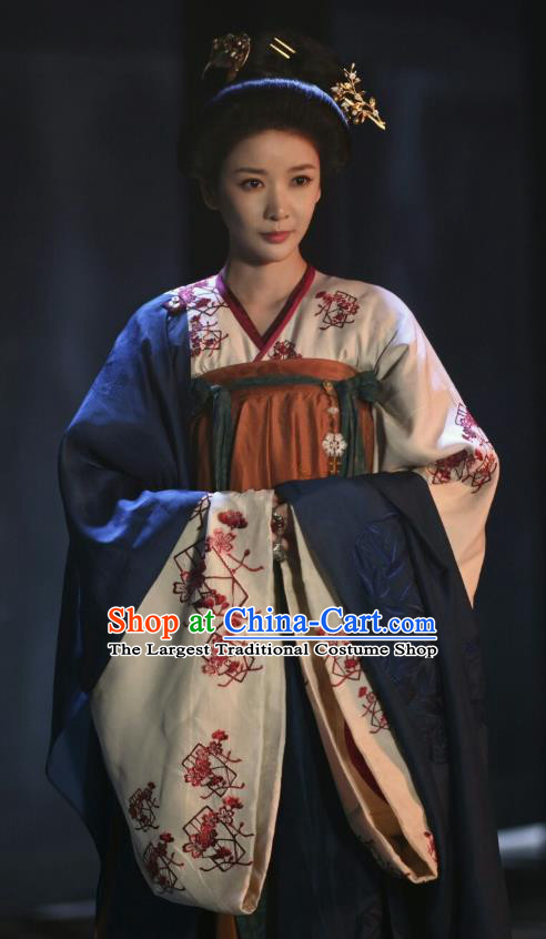 Chinese Ancient Tang Dynasty Imperial Consort Hanfu Dress Apparels Costumes and Headpiecess Drama Wu Xin The Monster Killer Palace Lady Lu Peihua Garment
