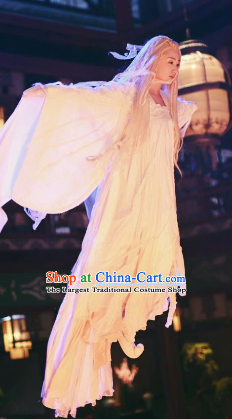 Chinese Ancient Snow Fairy Tang Dynasty Hanfu Dress Apparels Costumes and Headpiecess Drama Wu Xin The Monster Killer Enchantress Garment
