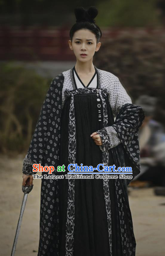 Chinese Ancient Tang Dynasty Black Hanfu Dress Apparels Costumes and Headpieces Drama Wu Xin The Monster Killer Court Maid Liu Qingluan Garment