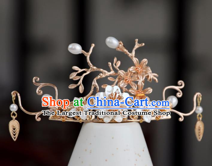 Chinese Ancient Golden Hair Crown Jewelry Headwear Hair Accessories Headdress Hairpins for Women
