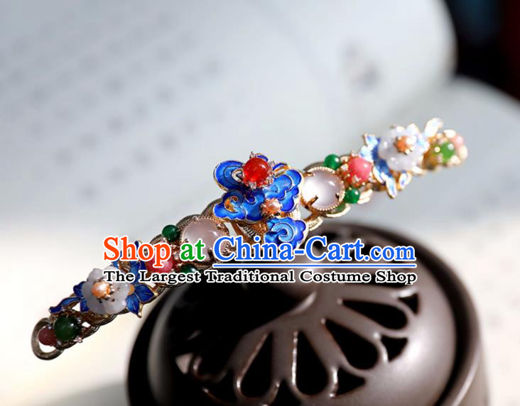 Chinese Ancient Gems Jewelry Hair Clip Headwear Hair Accessories Ming Dynasty Women Cloisonne Hairpin