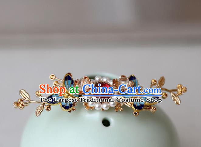 Chinese Ancient Hanfu Cloisonne Butterfly Hair Clip Women Headwear Hairpin Hair Accessories Pearls Hair Crown
