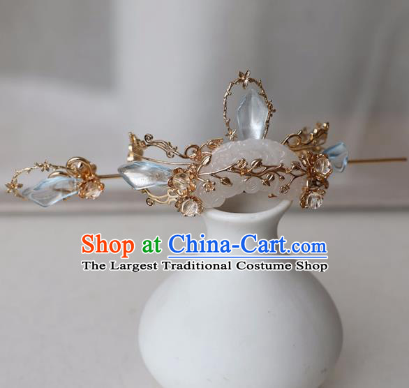 Chinese Ancient Hanfu Blue Crystal Golden Hair Crown Women Headwear Hairpin Jade Hair Accessories