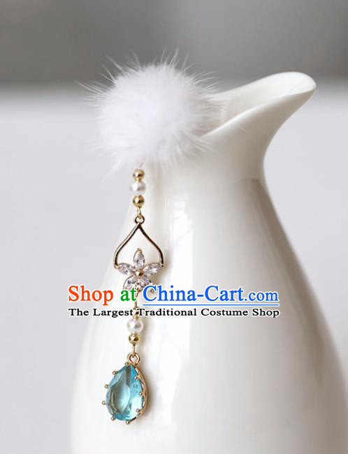Chinese Ancient Hanfu Blue Crystal Tassel Hair Clip Women Hairpin Hair Accessories Headwear