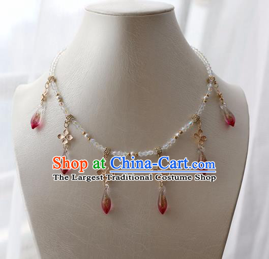 Chinese Ancient Princess Red Crystal Necklace Women Accessories Tassel Necklet Jewelry