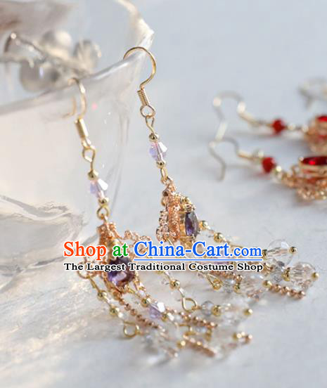 Chinese Ancient Hanfu Purple Crystal Earrings Women Jewelry Ming Dynasty Golden Ear Accessories