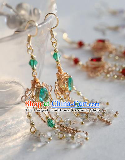 Chinese Ancient Hanfu Green Crystal Earrings Women Jewelry Ming Dynasty Golden Ear Accessories