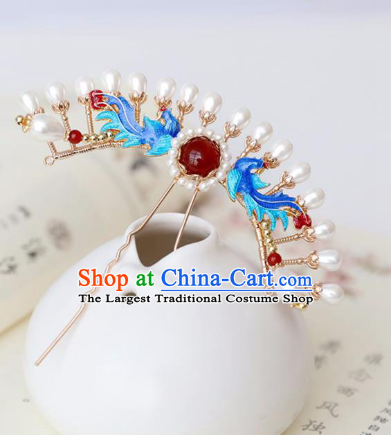 Chinese Ancient Queen Cloisonne Phoenix Hairpin Headwear Women Hair Accessories Ming Dynasty Court Hair Clip