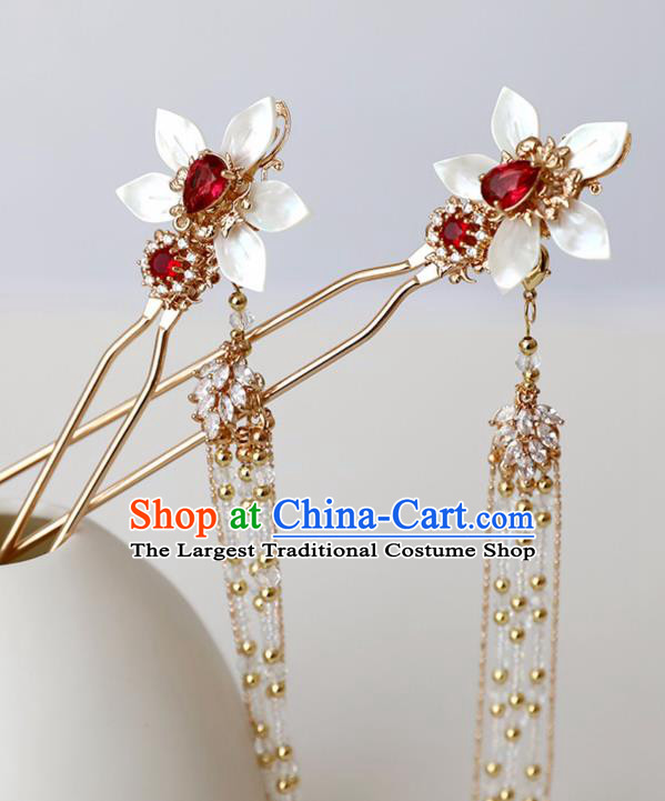 Chinese Ancient Hanfu Red Crystal Shell Hairpin Headwear Women Hair Accessories Golden Beads Tassel Hair Clip