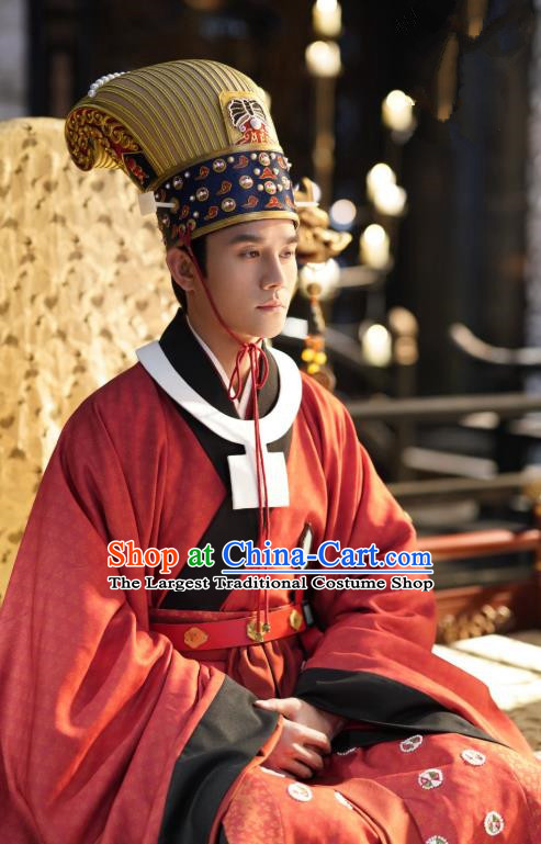 Chinese Ancient Emperor Official Garment Clothing and Headwear Drama Serenade of Peaceful Joy Song Dynasty Renzong Zhao Zhen Apparels