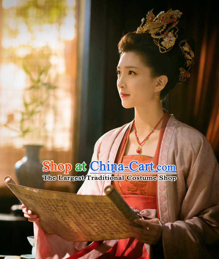 Chinese Ancient Empress of Renzong Dress Historical Costumes and Headpieces Drama Serenade of Peaceful Joy Song Dynasty Queen Garment