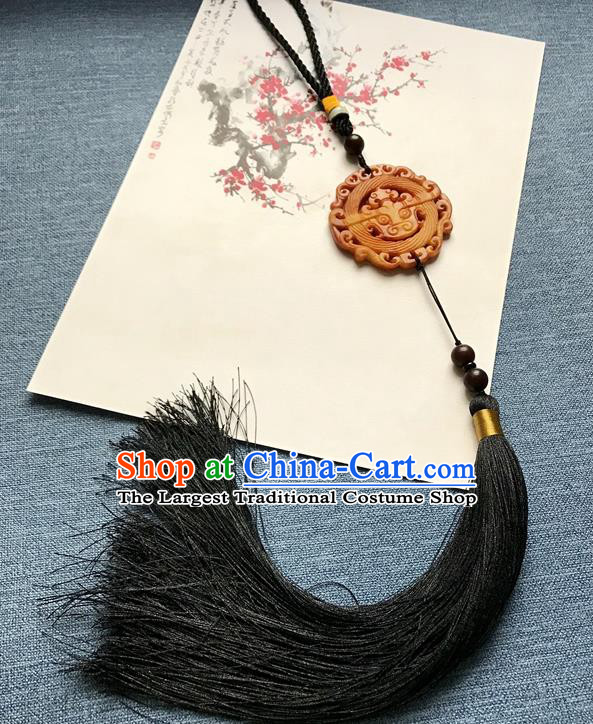 Chinese Ancient Hanfu Black Tassel Pendant Yellow Jade Carving Brooch Jewelry Accessories Lappet