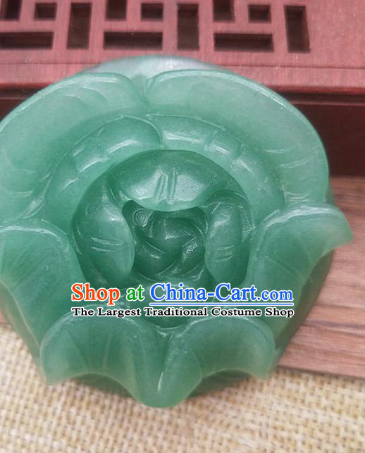 Chinese Handmade Aventurine Jade Handgrip Craft Jade Necklace Accessories Carving Rose Green Jade Label Pendant