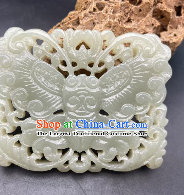 Chinese Ancient Carving Butterfly Jade Accessories Hetian Jade Label Pendant Jade Necklace Craft