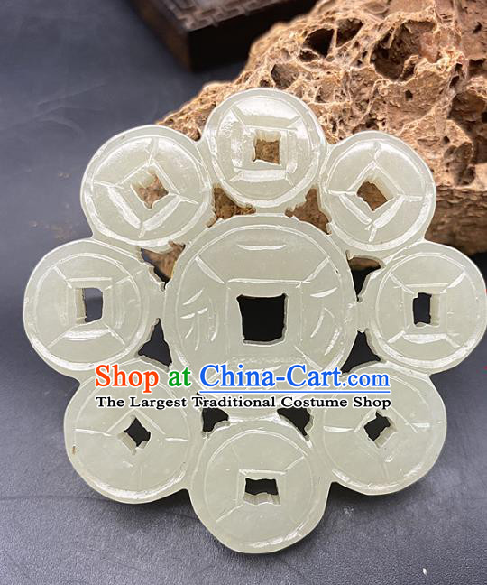 Chinese Ancient Carving Cash Jade Necklace Accessories Hetian Jade Pendant Jade Label Craft