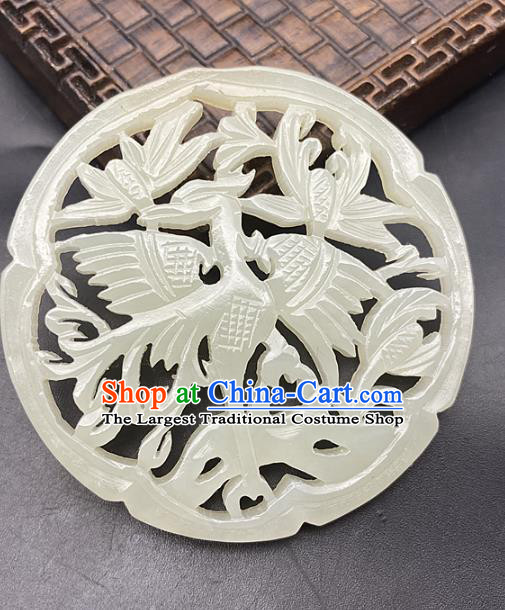 Chinese Ancient Carving Magpie Jade Necklace Accessories Hetian Jade Pendant Jade Label Craft