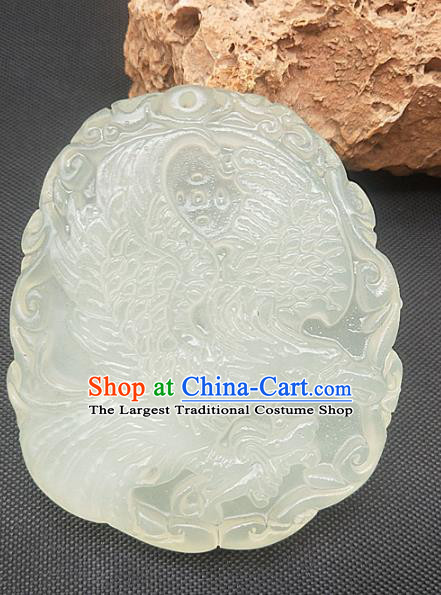 Chinese Ancient Jade Accessories Hsiuyen Jade Label Craft Carving Eagle Jade Necklace Pendant