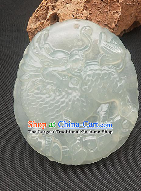 Chinese Handmade Jade Accessories Hsiuyen Jade Label Craft Carving Kylin Jade Necklace Pendant