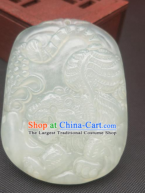 Chinese Handmade Jade Necklace Accessories Craft Pendant Hsiuyen Jade Label Carving Tiger Jade Longevity Lock