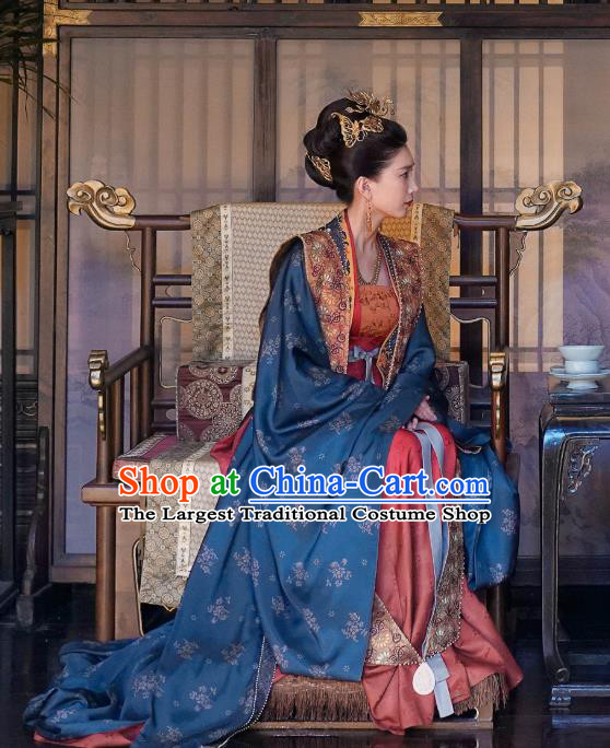 Chinese Ancient Song Dynasty Queen Historical Costumes and Headdress Drama Serenade of Peaceful Joy Empress Cao Danshu Dress Garment