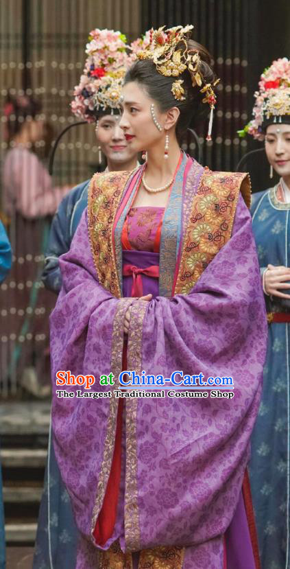 Chinese Ancient Garment Song Dynasty Empress Historical Costumes and Headpieces Drama Serenade of Peaceful Joy Queen Cao Danshu Dress