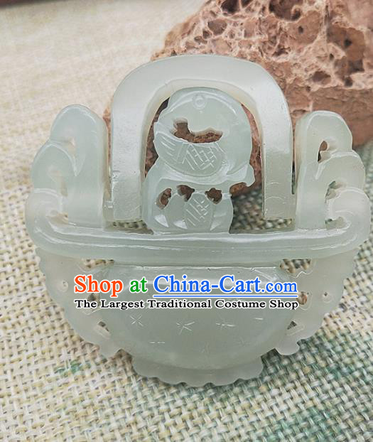 Chinese Handmade Jade Carving Cornucopia Necklace Accessories Handgrip Craft Jade Jewelry Jade Basket Pendant