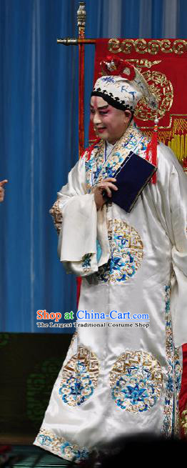 Chinese Peking Opera Costumes The Huarong Path Chancellor Cao Cao Garment and Hat Complete Set