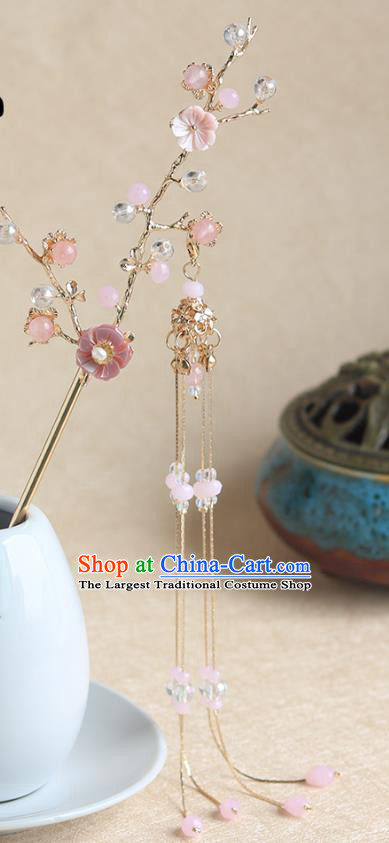 Chinese Ancient Hanfu Hair Clip Hair Accessories Women Pink Shell Plum Tassel Hairpin Headwear