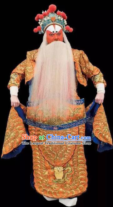 Chinese Peking Opera Old Men Apparel Costumes The Huarong Path Garment General Huang Gai Kao Armor Suit and Helmet