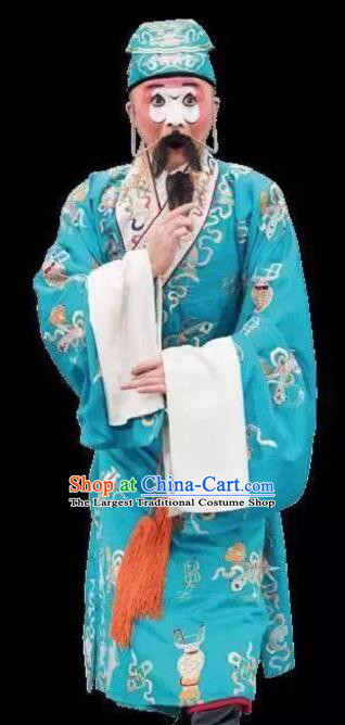 Chinese Peking Opera Chou Apparel Costumes The Huarong Path Clown Garment and Headwear