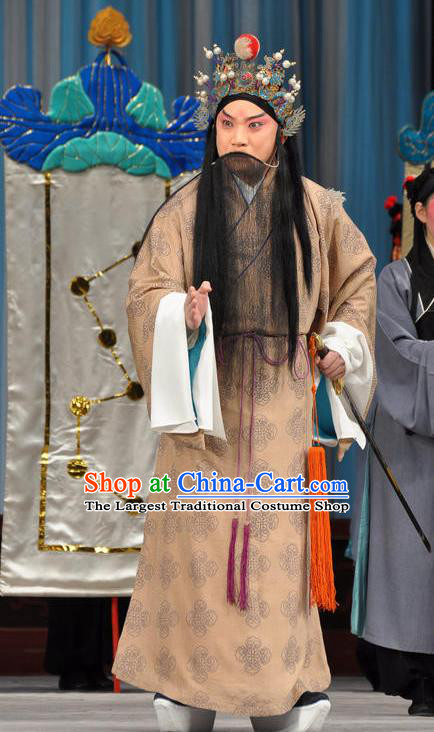 Chinese Peking Opera Military Counsellor Costumes The Huarong Path Old Men Zhou Yu Apparel Garment and Hat