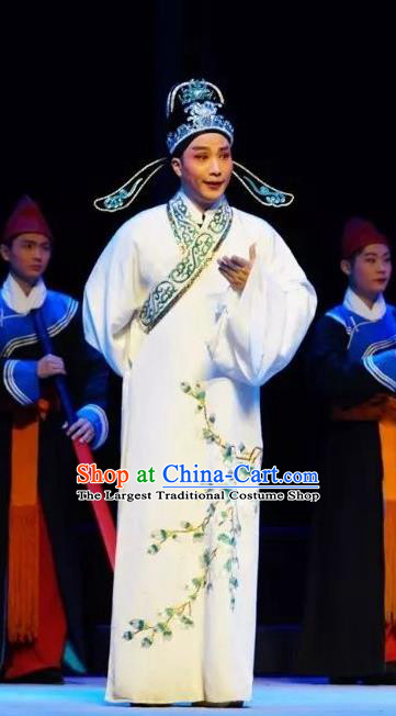 Chinese Peking Opera Xiaosheng White Robe Garment Double Pearl Phoenix Scholar Young Male Wen Bizheng Apparel Costumes and Hat