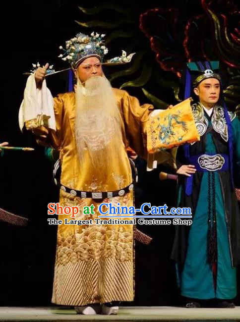 Chinese Peking Opera Old Men Embroidered Robe Garment Double Pearl Phoenix Chancellor Apparel Costumes and Hat