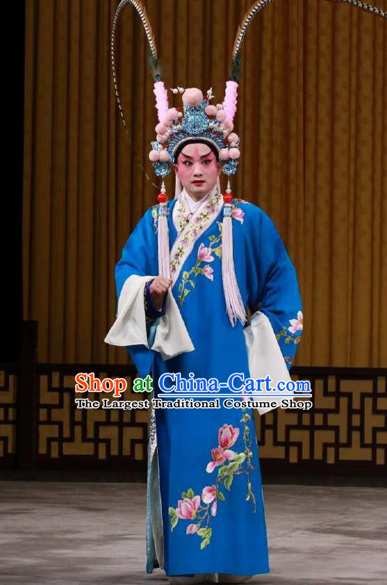 Chinese Peking Opera Garment the Fourth Son Visits His Mother Apparel Costumes Young Men Embroidered Robe and Hat