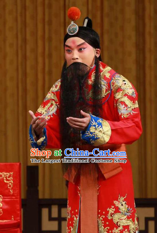 Chinese Peking Opera Martial Male Garment the Fourth Son Visits His Mother Costumes Old Men Yang Yanhui Apparel and Headpiece