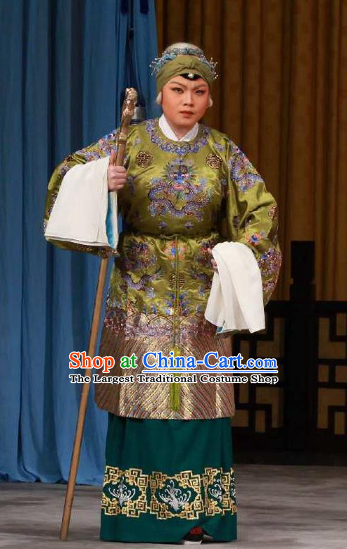 Chinese Peking Opera Lao Dan Costumes the Fourth Son Visits His Mother Old Female Apparel Garment Dress and Headwear