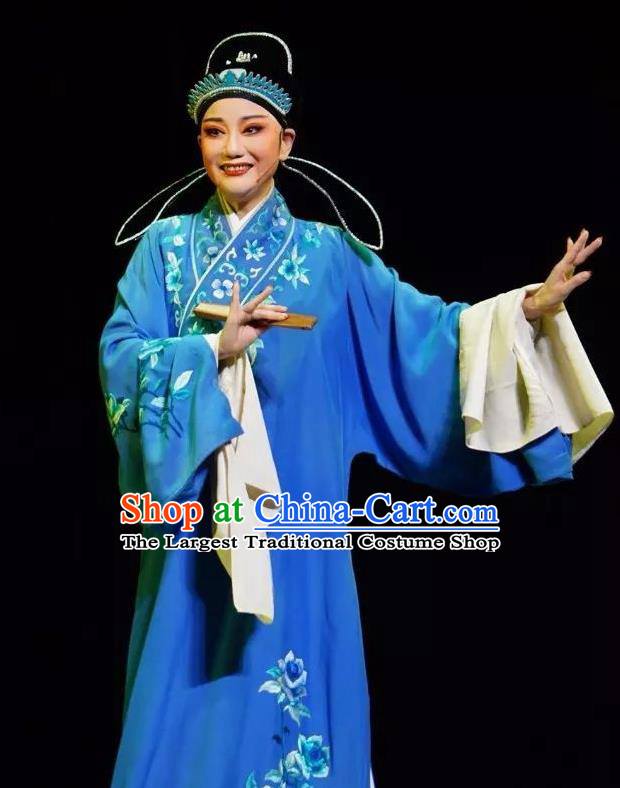 Chinese Peking Opera Young Men Embroidered Robe Garment Double Pearl Phoenix Niche Scholar Apparel Costumes and Hat