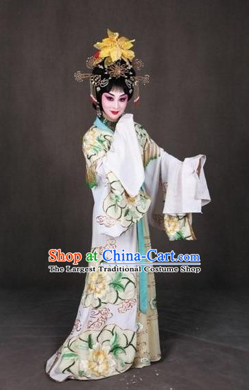 Chinese Peking Opera Garment Costumes the Royal Consort of Tang Female Dan Apparel Hua Tan White Dress and Headwear